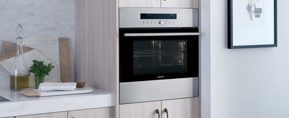 Built-in Wolf Oven with Convection - closed door with light on