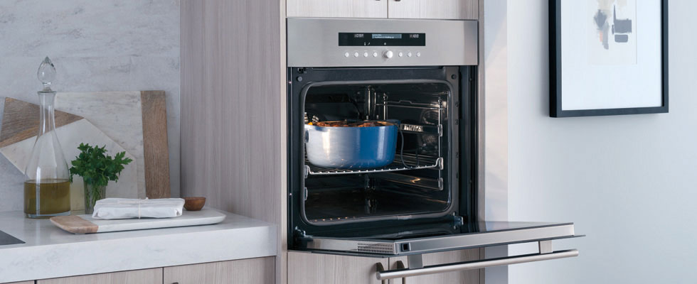 Built-in Wolf Oven with Convection - open door with light on and a pot inside