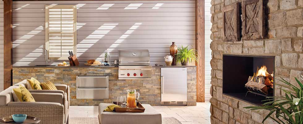 Sub-Zero and Wolf Outdoor Kitchen - Featuring built-in grill, with beverage center and 2 warming drawers