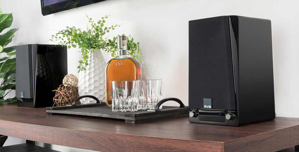 SVS Bookshelf Speakers on table