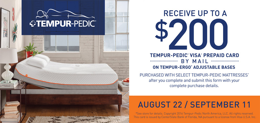 Receive a $200 Tempur-Pedic Visa Prepaid Card with Purchase of Select Tempur-Ergo Adjustable Bases and Mattress