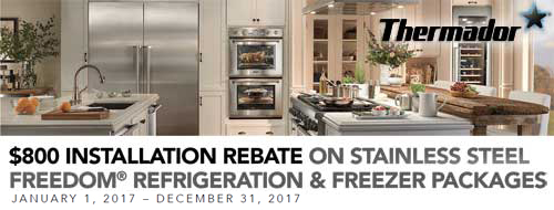 Thermador - Receive an $800 Online Rebate with the purchase of an eligible Freedom Collection Refrigreation and Freezer Package. Expires: 12-15-16