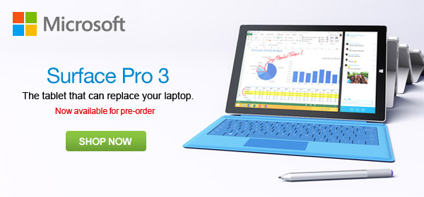 Microsoft Surface Pro 3 Now Available For Pre-Order