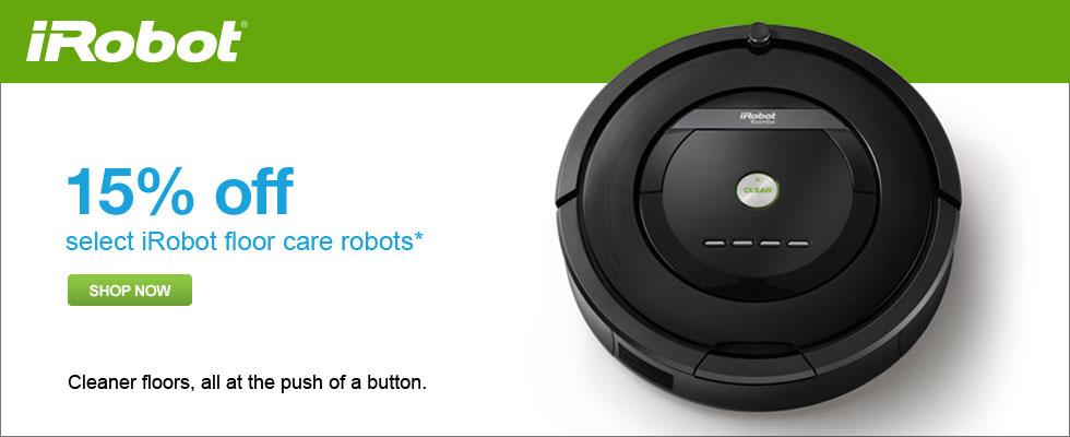 Save 15% Off Select iRobot Floor Care Robots