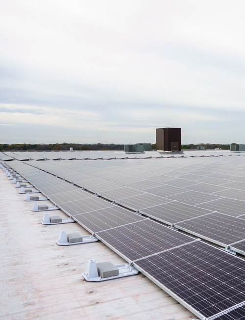 Rooftop solar array that generates enough electricity to run 80 homes for a year.
