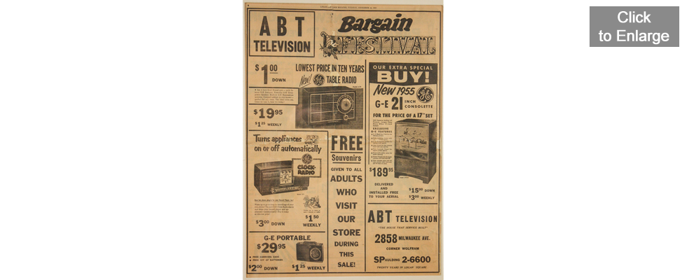 Abt Television Newspaper Advertisement - 1954