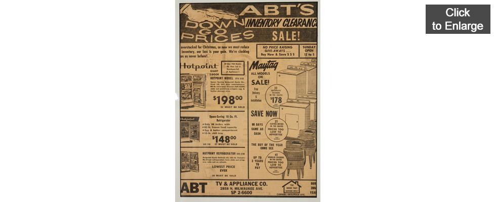 Abt TV & Appliance Co. - 1964 - Advertisement