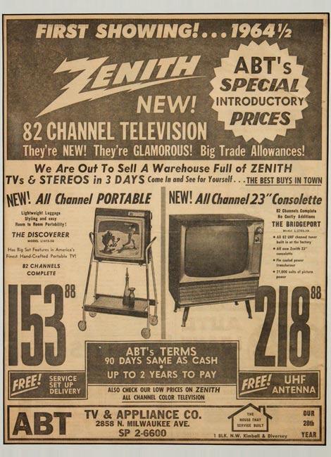 Abt TV & Applaince Co. - 1964½ - Advertisement