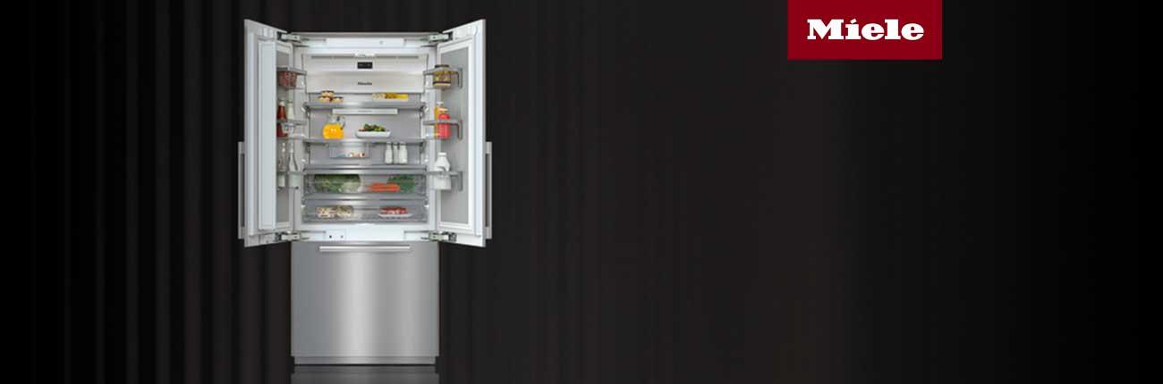 Stainless steel french door refrigerator with doors open