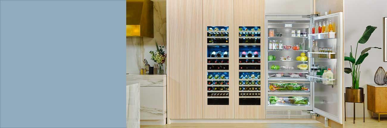 Lifestyle of kitchen with refrigerator door open