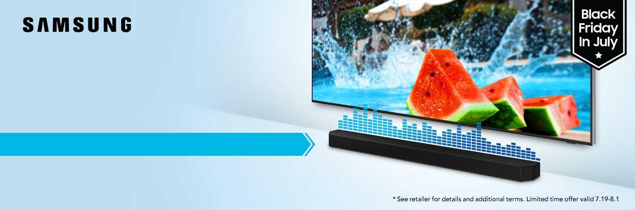 Samsung TV and Soundbar hero shot