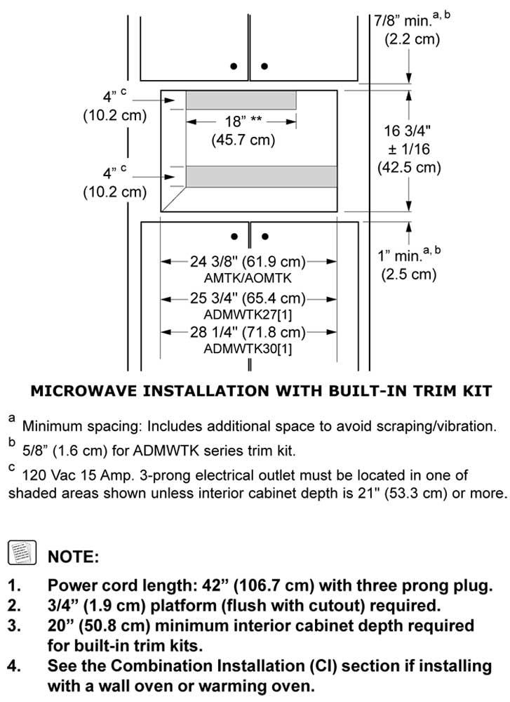 ADMWTK27S - Cutout Dimensions