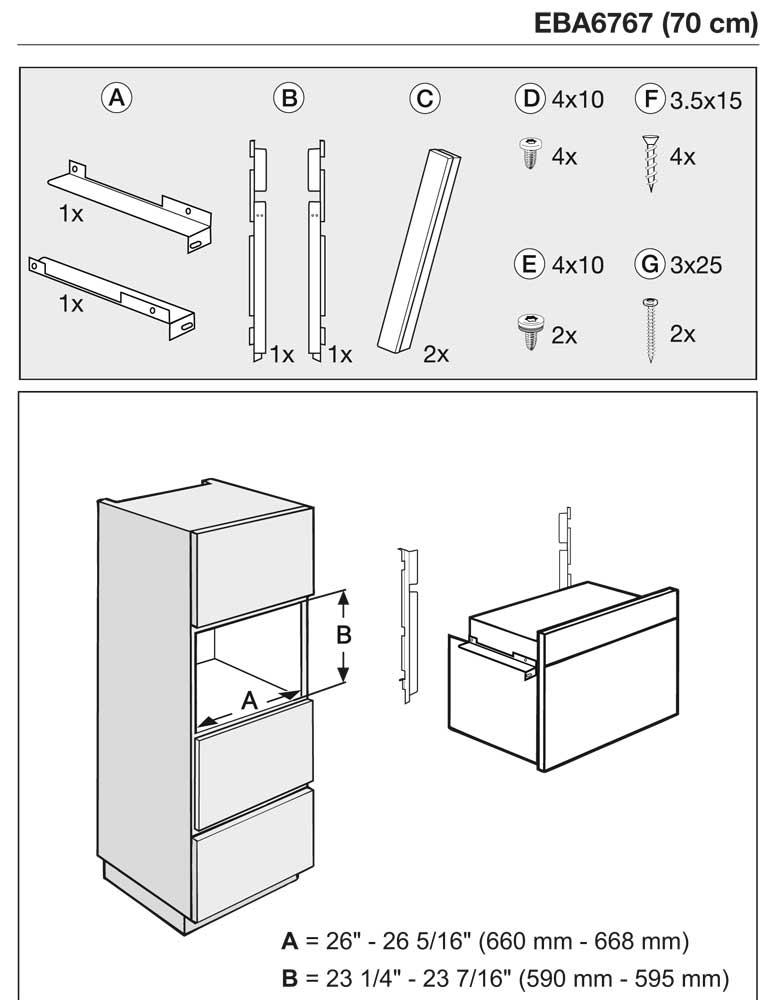 EBA6767SS - Cutout Dimensions