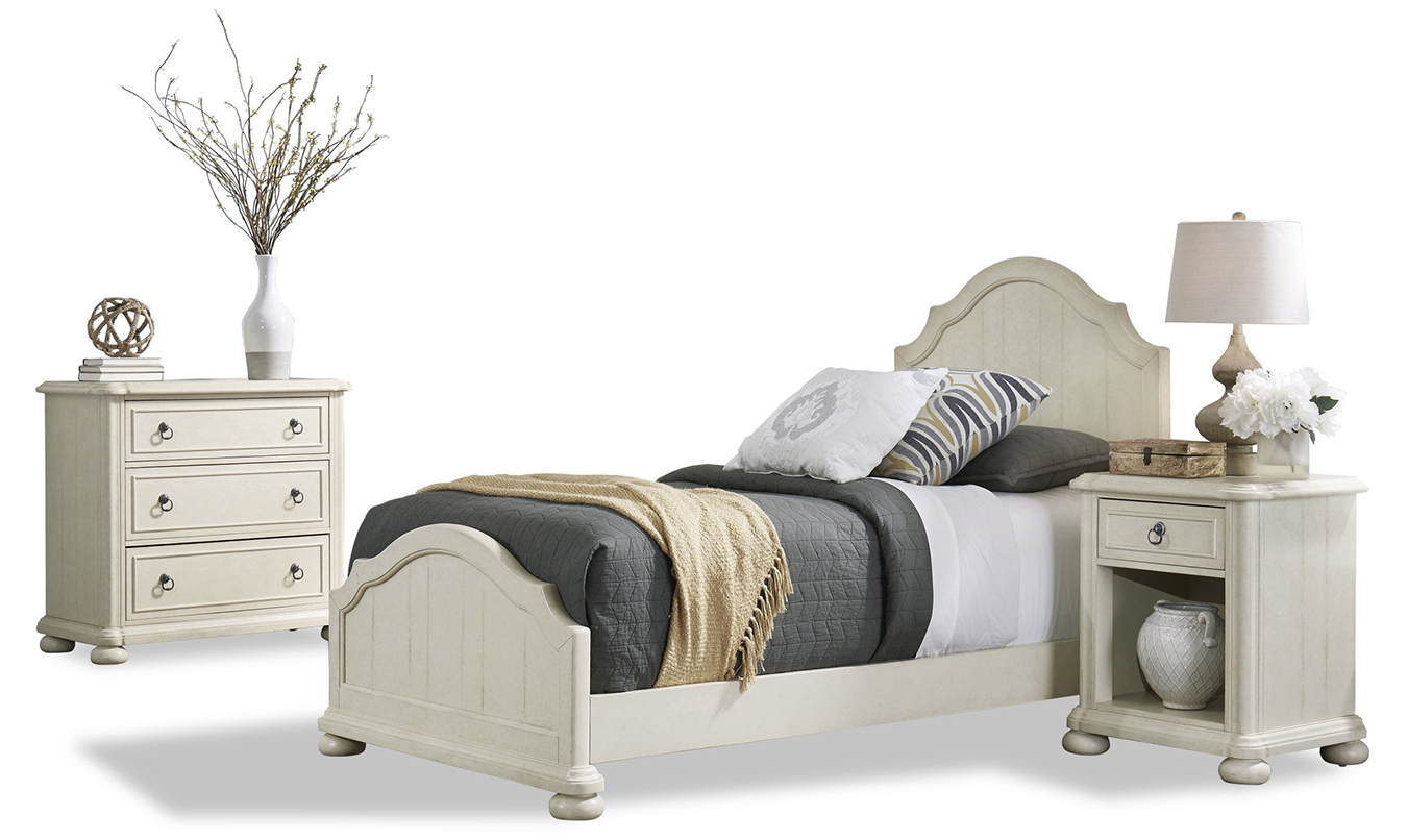 Homestyles Provence Antiqued White Twin Bed, 2 Nightstands And Chest