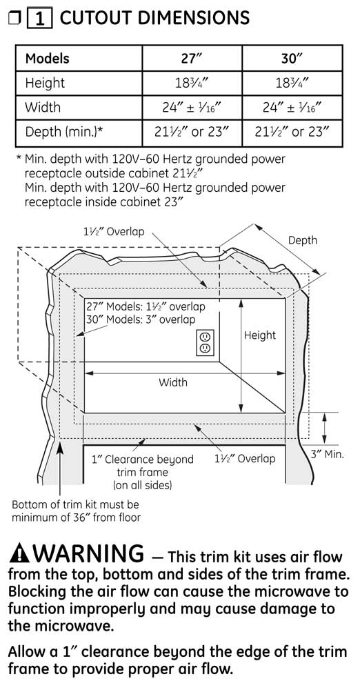 JX1527 - Cutout Dimensions