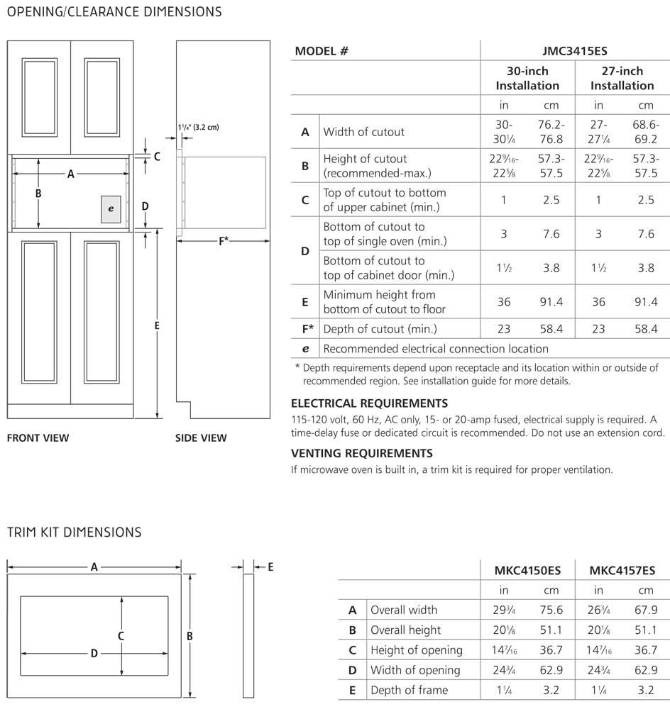 MKC4150 - Cutout Dimensions