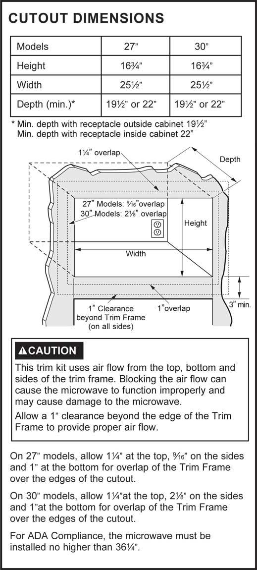 ZX2127SLSS - Cutout Dimensions
