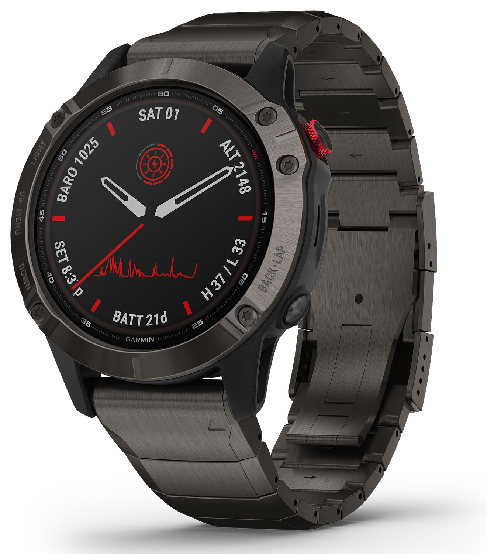 Garmin Fenix 6 Pro Solar Titanium Carbon Gray DLC with Titanium DLC Band GPS Multisport Smartwatch 010-02410-22