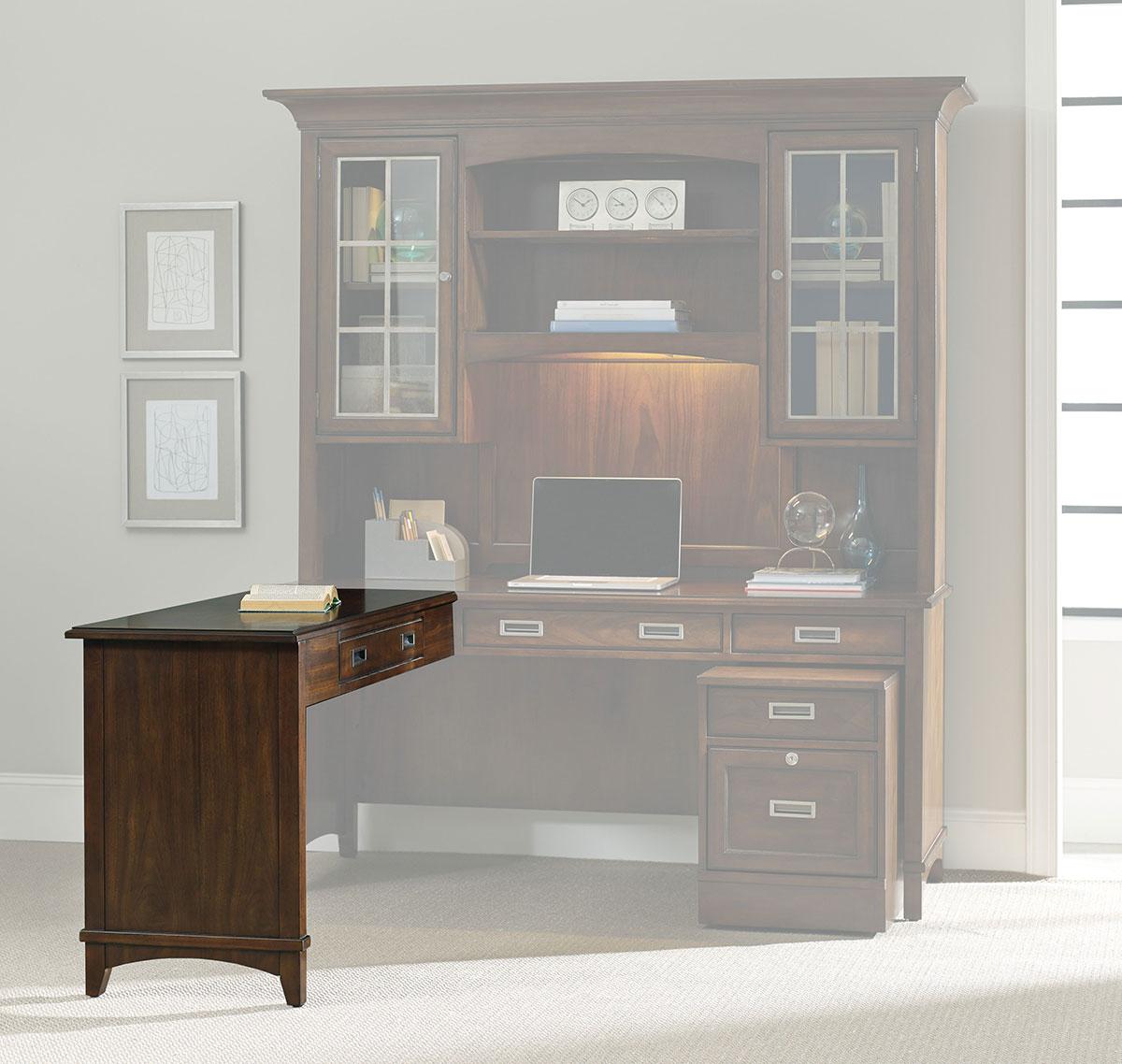 Hooker Furniture Home Office Latitude Collection Left/Right Return Dark Wood Desk