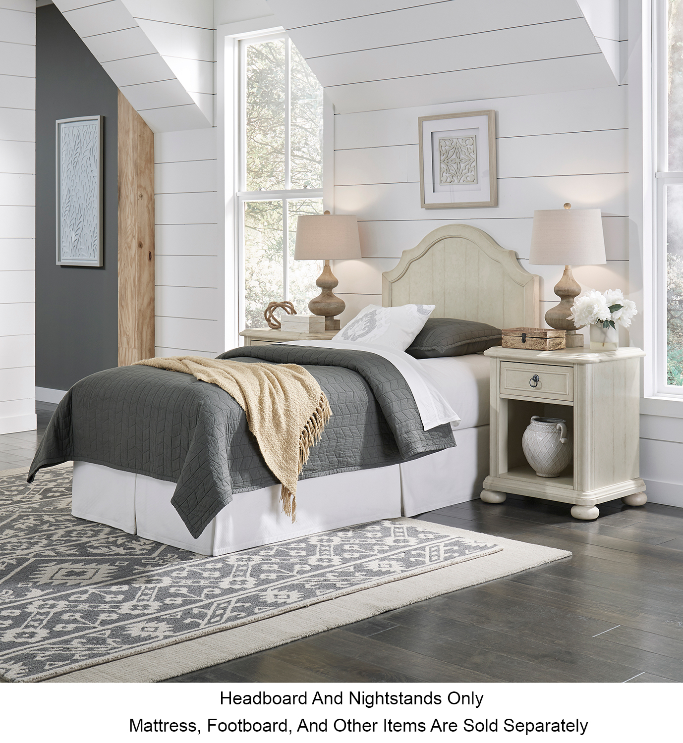 Homestyles Provence Antiqued White Twin Headboard And Two Nightstands
