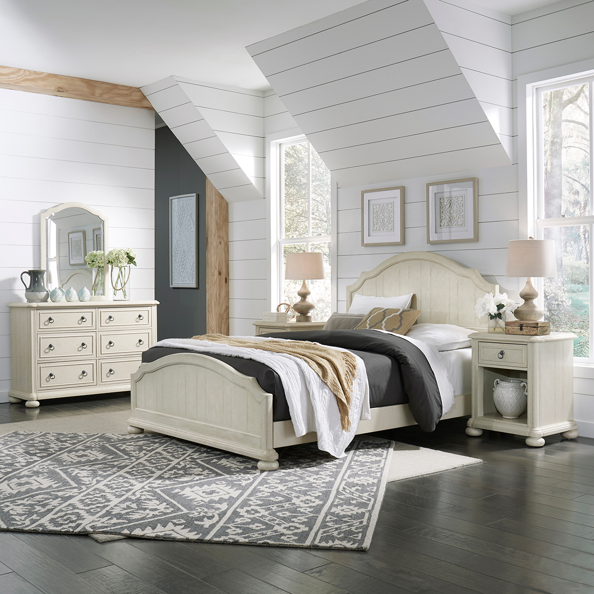 Homestyles Provence Antiqued White Queen Bed, 2 Nightstands & Dresser w/ Mirror