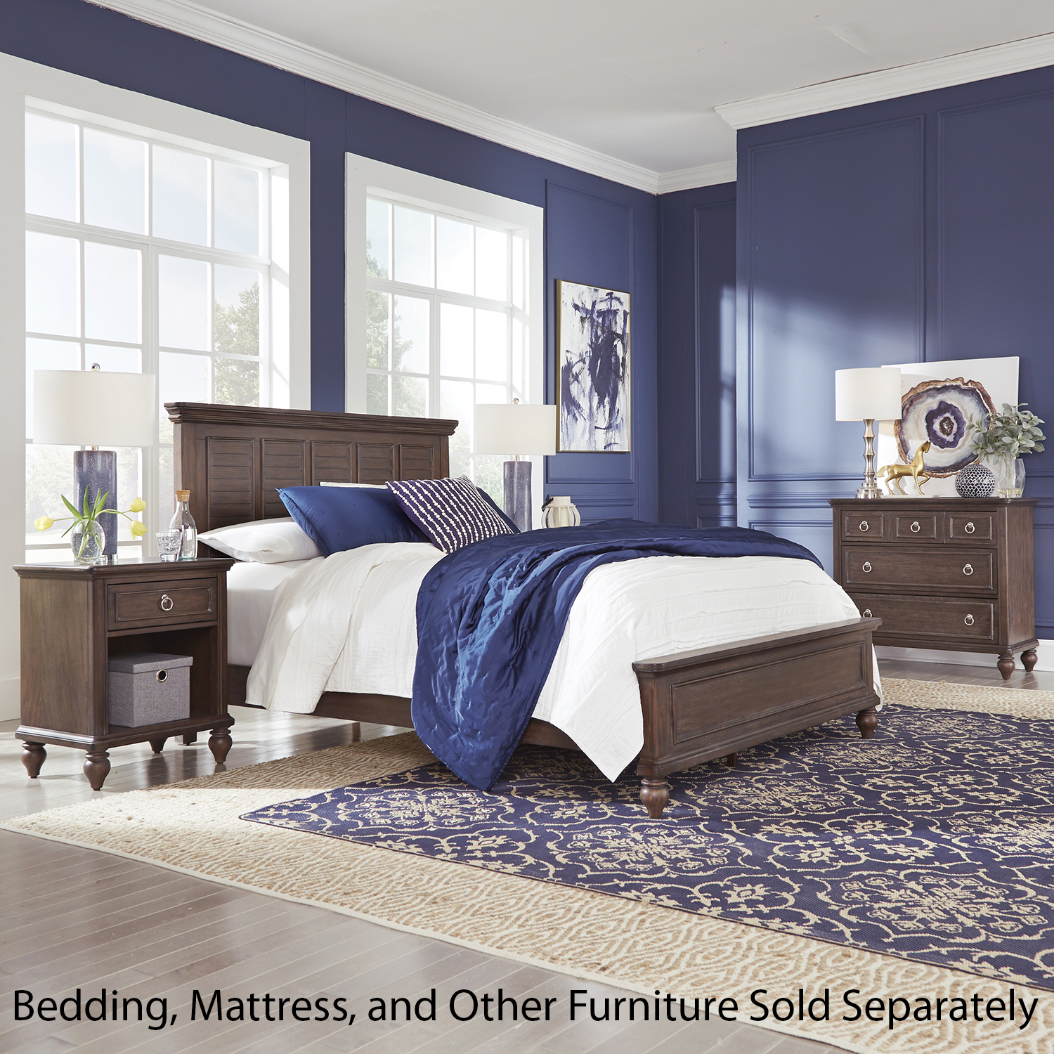 Homestyles Southport Distressed Oak Queen Bed, Nightstand & Chest