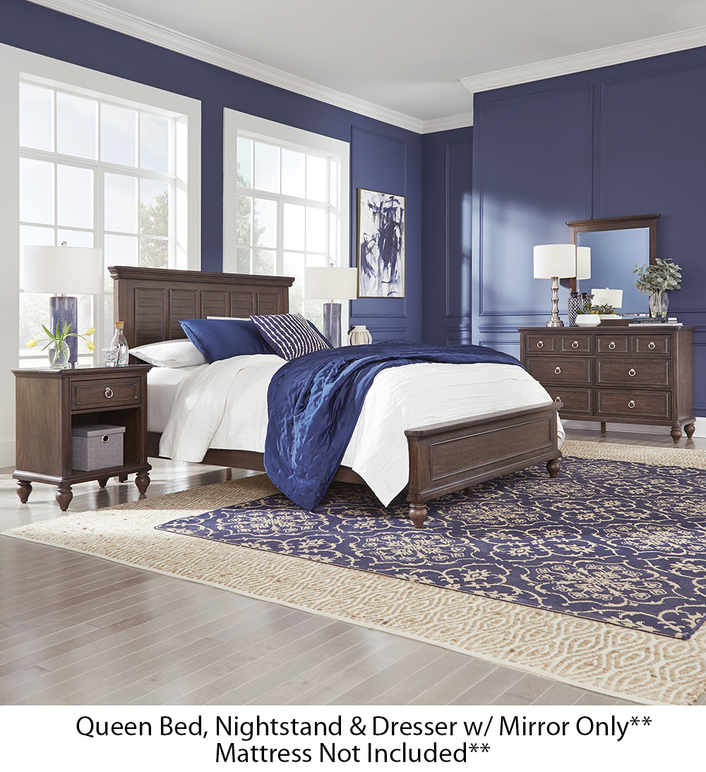 Homestyles Southport Distressed Oak Queen Bed, Nightstand And Dresser w/ Mirror