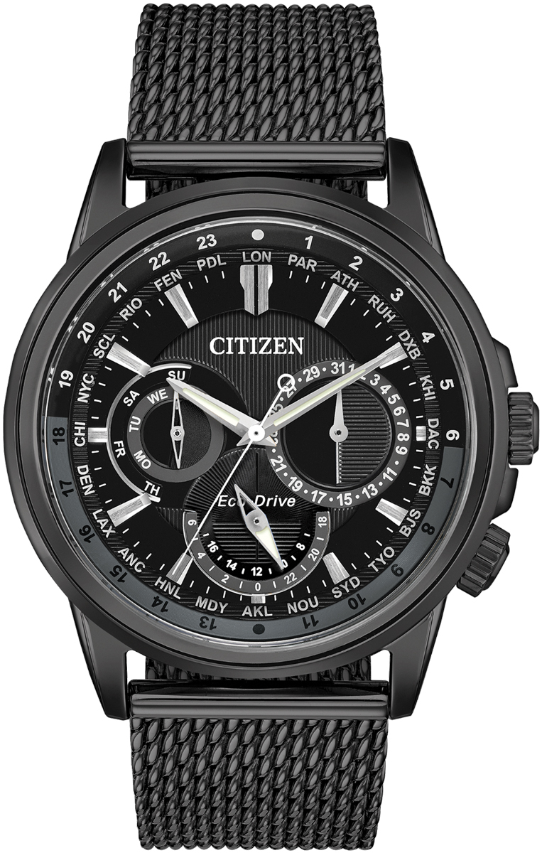 citizen ecodrive black stainless steel calendrier watch