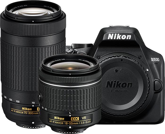 Nikon D3500 Black Digital Slr Camera Two Lens Kit 1588