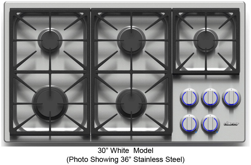 Dacor Discovery 30 White Natural Gas Cooktop
