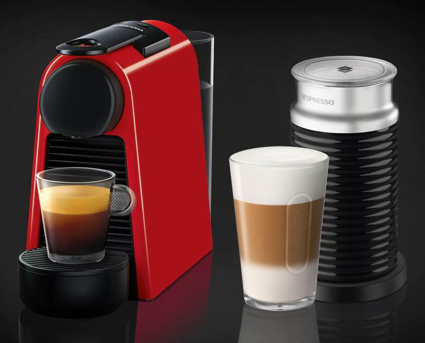 Nespresso Ruby Red Essenza Mini Espresso Machine Bundle