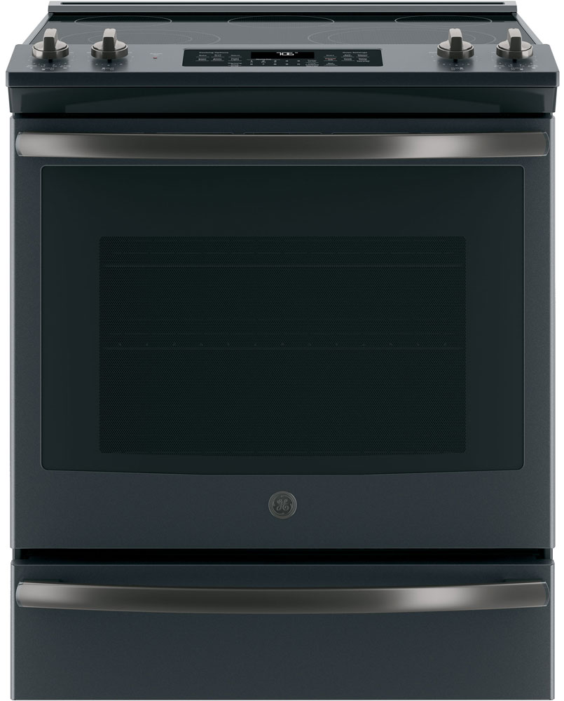 GE 30 Black Slate Slide-In Electric Convection Range