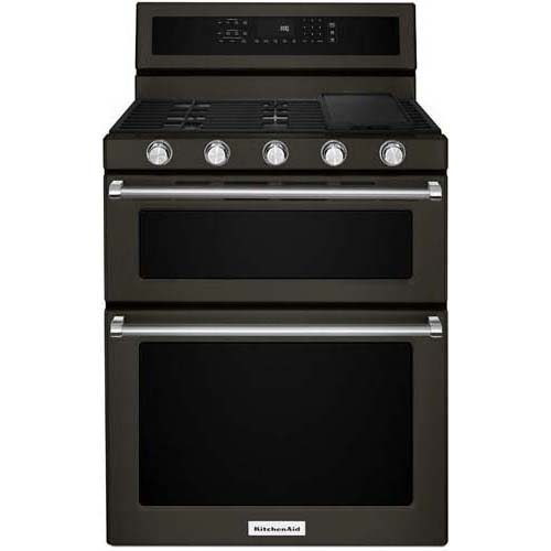 "KitchenAid 30"" Black Stainless Steel Freestanding Gas Dou..."