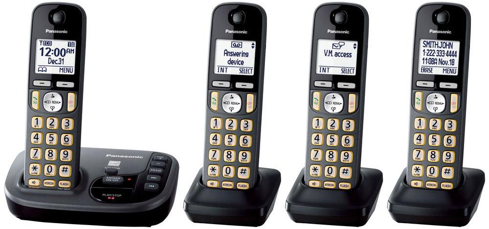 Panasonic Black Expandable Cordless Phone With 4 Handsets