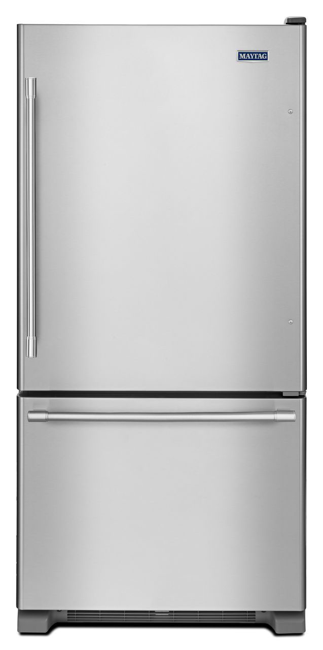Maytag 22 Cu. Ft. Stainless Steel Bottom Freezer Refriger...