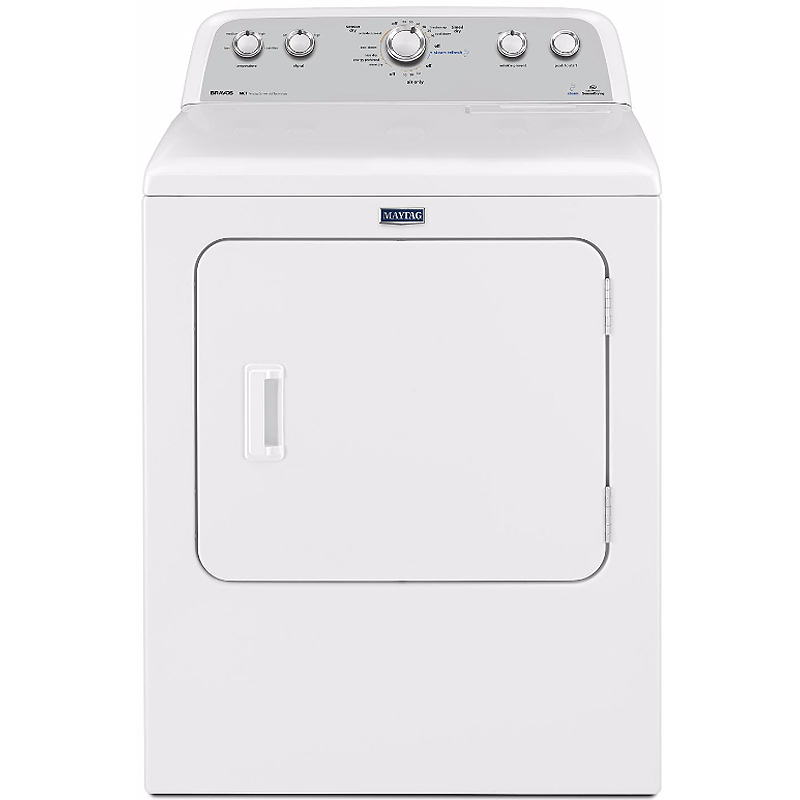 Maytag MEDX6STBW HE Electric Dryer with 7.0 Cu. Ft. Capacity IntelliDry Sensor Steam Refresh Cycle Sanitize Cycle Commercial Technology and Wrinkle Control Option in White