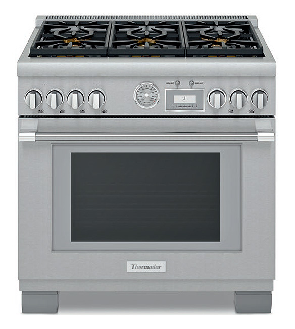 Thermador 36 Quot Pro Grand Stainless Steel Gas Range Prg366wg