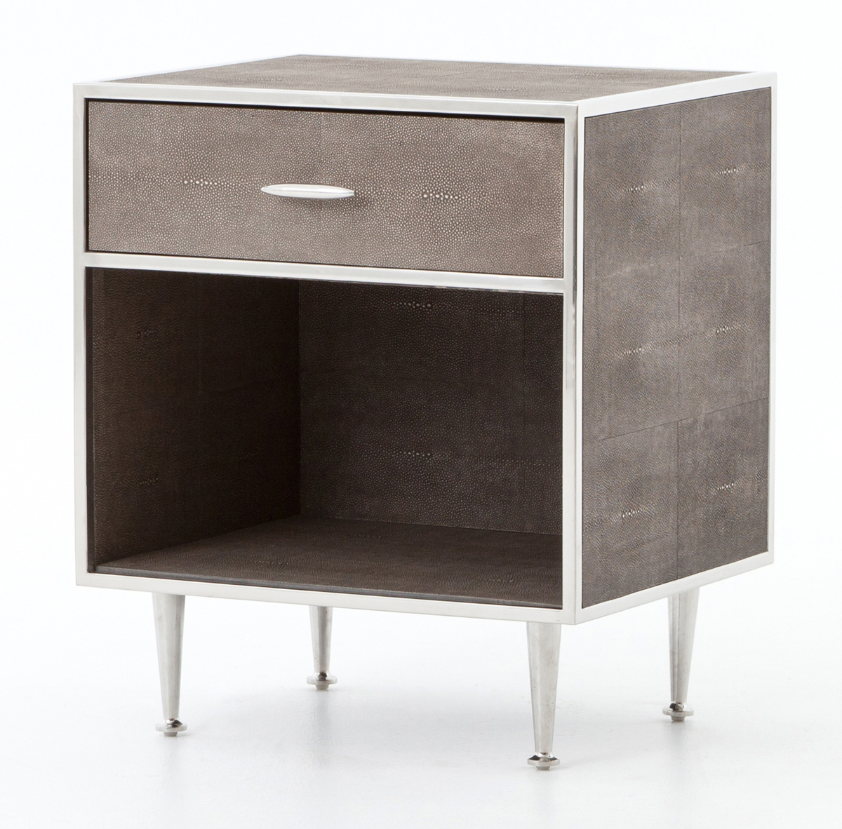 Four Hands Bentley Collection Stainless Shagreen Bedside Table