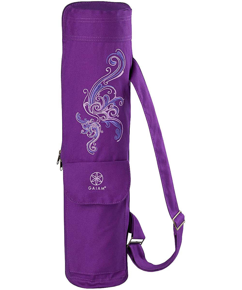 Gaiam Yoga Mat Bag Gear Tote Shoulder Strap Deep Plum Surf In Package