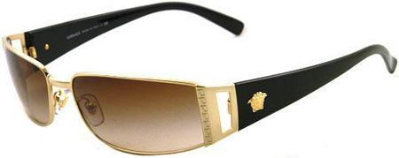 Versace Small Rectangular Black Mens Sunglasses - 2021100213A