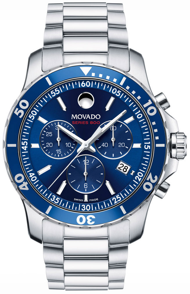 Movado Series 800 42mm Stainless Steel And Blue Mens Watch 2600141