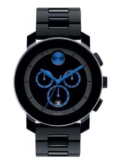 Unisex Bold Chronograph Black Dial Black Plastic & Steel Bracelet Watch - Movado 3600101