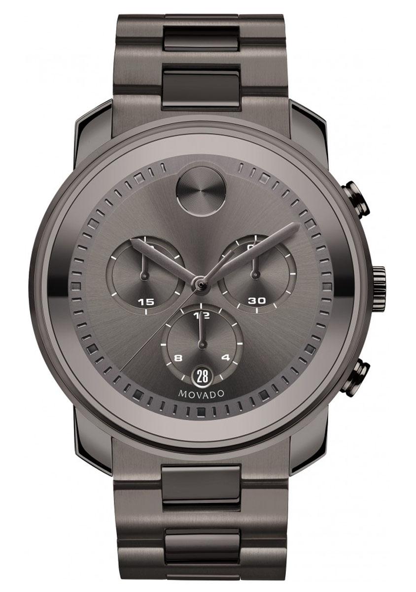 Movado Bold Large Gunmetal Steel Quartz Chronograph Mens Watch 3600277
