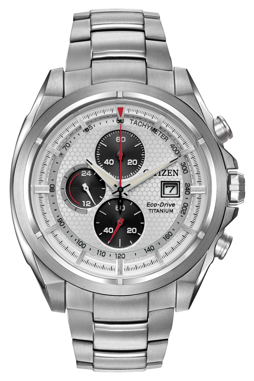 Citizen Eco-Drive TI+IP Silver Tone Titanium Mens Watch