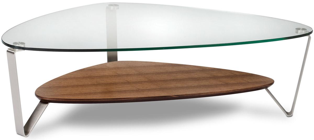 BDI Dino Large Natural Walnut Triangular Coffee Table