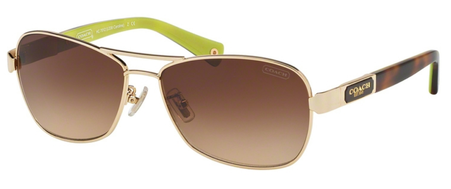265c31e274e Coach Caroline Gold Tortoise Aviator Womens Sunglasses
