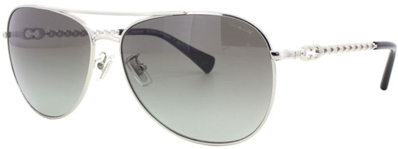 Coach Bree Silver Aviator Womens Sunglasses