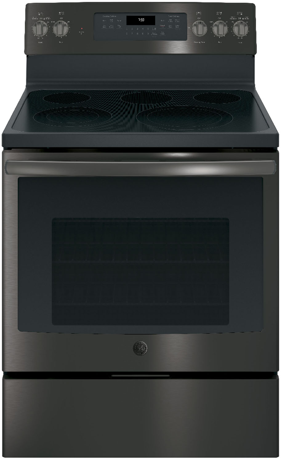 GE Profile 30 Black Stainless Steel Electric Convection Range