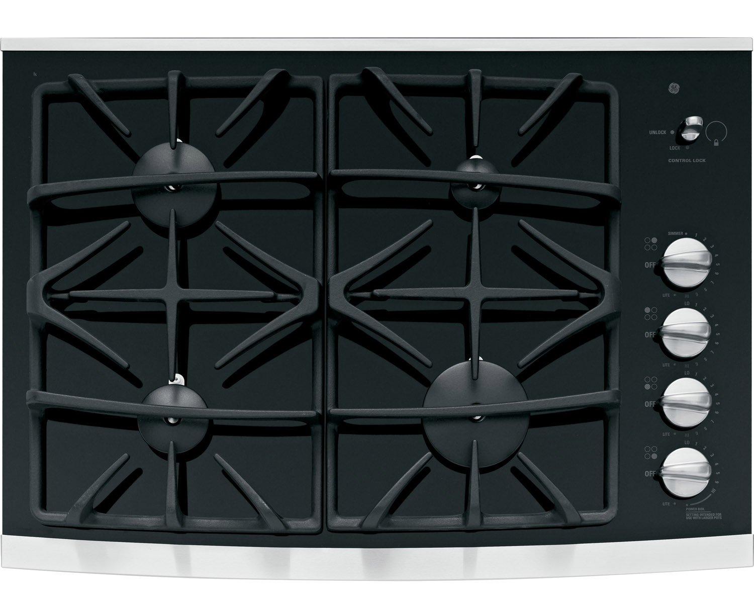 """GE Profile 30"""" Stainless Steel Built-In Gas Cooktop"""