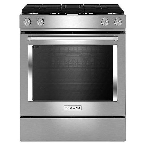 "KitchenAid 30"" Stainless Steel Dual Fuel Slide-In Range"